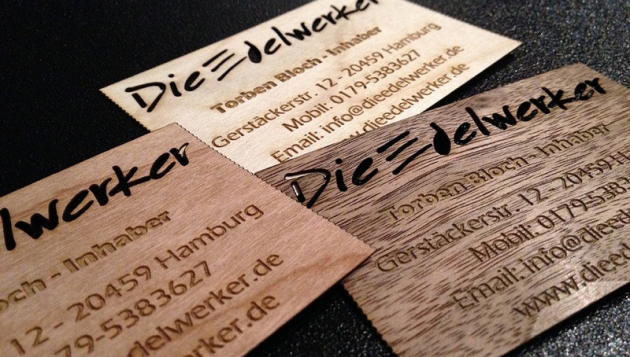 Lasergravur Visitenkarten Holz Laserzuschnitt