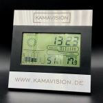 Werbemittel Wetterstation Uhr Lasergravur www.kamavison.de